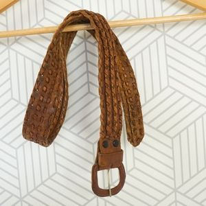 Vintage Leather Braided Brown Leather Belt